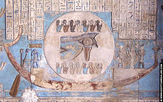 Relief voorstelling van de Maan in de Dendera Tempel.