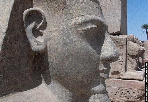 Hoofd van een beeld van Ramses II voor de Luxor Tempel.