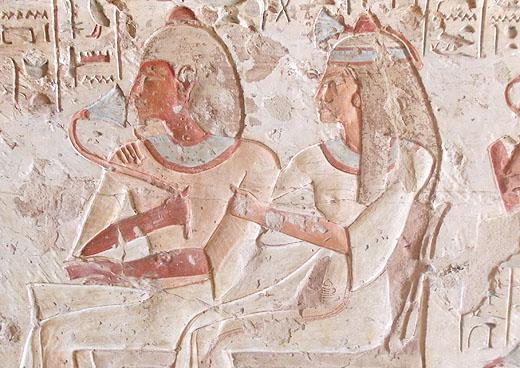 Relief van Setau met zijn partner in zijn tombe.