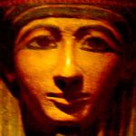 Gezicht van een sarcofaag uit het oude Egypte.