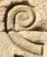 Oud-Egyptisch hieroglief van een krul.