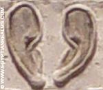 Oud-Egyptisch hiëroglief van twee oren.