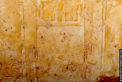 De Ka afgebeeld op een blok steen bij het Ramesseum.