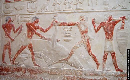 Relief afkomstig van een tombe bij Saqqara.