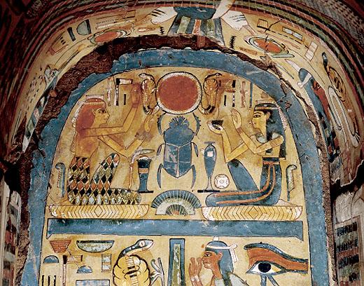 Beschildering in een oud-Egyptische sarcofaagkist.