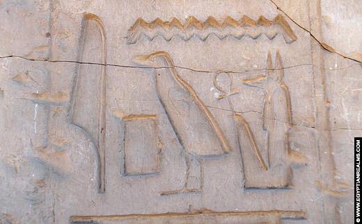 Hierogliefen op de Abydos Tempel.