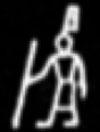 Oud-Egyptisch hieroglief van een man met stok.