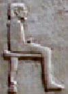 Oud-Egyptisch hieroglief van een heer op een stoel.