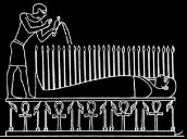 Oud-Egyptisch hieroglief van een lichaam op een bed.
