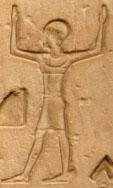 Oud-Egyptisch hiëroglief van een man met armen in de lucht.