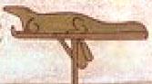 Oud-Egyptisch hieroglief van een krokodil op standaard.