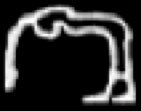 Oud-Egyptisch hieroglief van een gebogen dame.