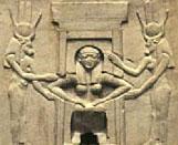 Oud-Egyptisch hieroglief van dame.