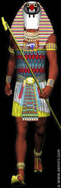 Illustratie van Pharaoh met masker van Heru.