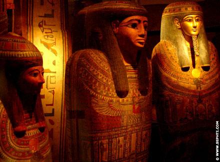 Prachtig bewerkte sarcofaag kisten.