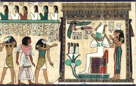Een persoon word door Heru voorgeleid naar Asar.