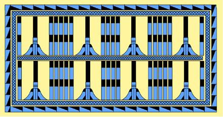 Egyptisch geometrisch patroon afkomstig van een meubelstuk.