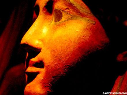 Masker van een sarcofaag.
