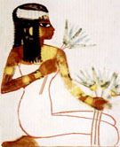 Oud-Egyptishe dame met lotusbloemen.