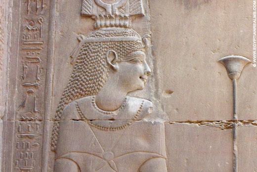 Relief van Hathor van de Kom-Ombo Tempel. Copyright egyptianrealms.com