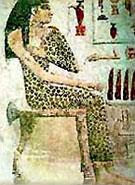 Egyptische dame met luipaardvacht.