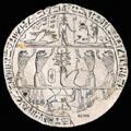 Egyptische zegel met inscripties.