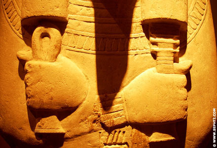Large Ushabti with Tau and Djed in the hands.
