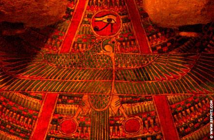 Voorstelling op een oud-Egyptische sarcofaagkist.