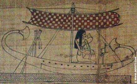 Dame met Lotus op de Papyrus boot met mast.
