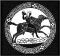 Een Griekse god reizend op de rug van de Ram.