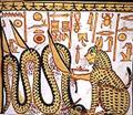 Kat die de slang Apep verslaat.