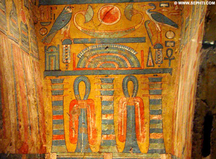 Painting of the Djed inside a sarcophagus coffin.
