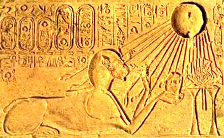 Akhenaten in de gedaante als Sphinx.