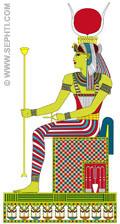 Illustratie van Aset op de Troon.