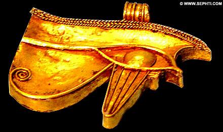 Gouden linker oog van Horus.
