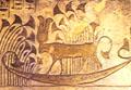 Het-Heru op de Papyrusboot bij de Lotus velden.