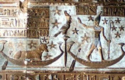 Mehet-Weret de Hemelse koe op de Papyrusboot.