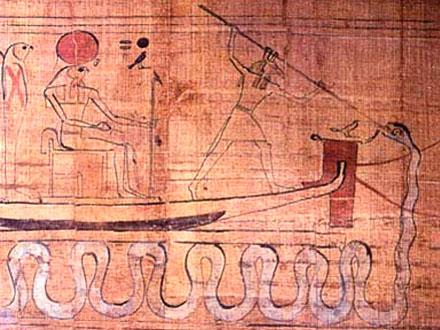 Suth verwijderd de grote slang Apep voorop de boeg van de boot van Ra.
