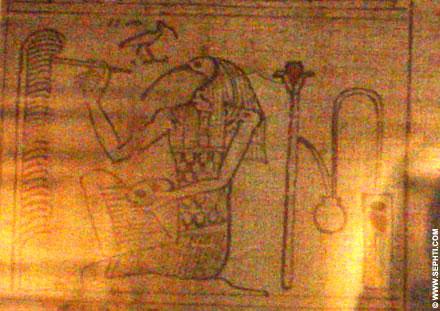 Tehuti afgebeeld op Papyrus.