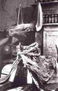 Upuaut in de tombe van Tutankhamun.