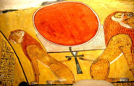 Aker afgebeeld op een muur van een tombe.