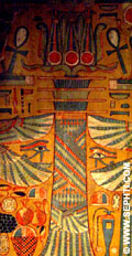 Painting of the Djed insinde a sarcophagus.