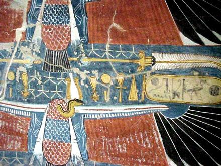 Voorstelling van Nekhebet op een plafond.