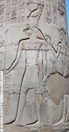 Heru afgebeeld op een pilaar in de Kom Ombo Tempel.