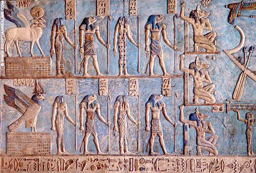 De groep van acht reptielen uit het oude Egypte.