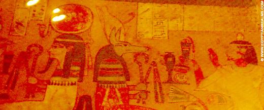 Duamutef afgebeeld in een sarcofaagkist.