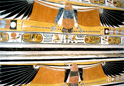 De oud-Egyptische gier Nekhebet afgebeeld in een tombe.