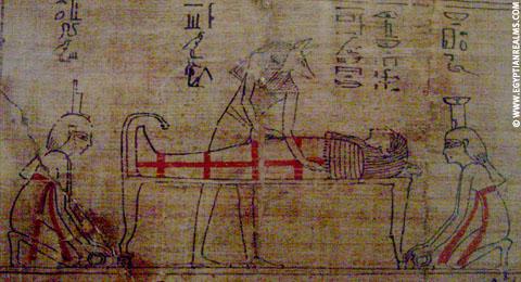 Aset en Nebet-Het afgebeeld op Papyrus.