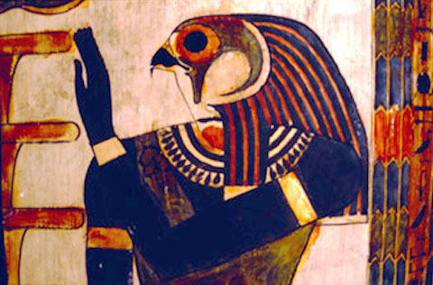 Heru afgebeeld bij de Djed.