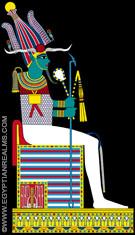 Illustratie van Asar zittend op de Troon.